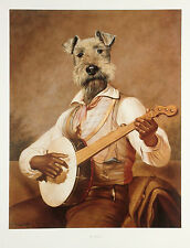 LAKELAND AIREDALE IRISH WELSH TERRIER DRESSED DOG ART PRINT - Playing a Banjo