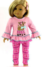"Holiday Pink Rudolph Top & Leggings for 18"" American Girl Doll Clothes"