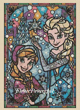 Cross stitch chart Frozen Stained Glass 359 FlowerPower37-uk FREE UK P&P