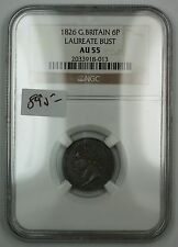 1826 Great Britain Sixpence 6P Silver Coin Laureate Bust NGC AU-55 AKR