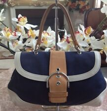 COACH DAISY BLUE CANVAS BAG WITH WHITE & BROWN LEATHER TRIM #4432 EUC!
