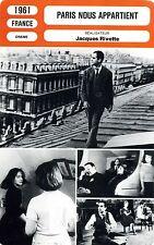 Fiche Cinéma. Movie Card. Paris nous appartient (France) 1961 Jacques Rivette