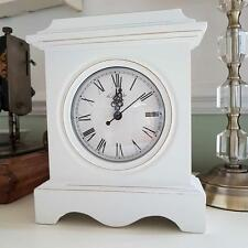 WHITE WOODEN FREE STANDING CHIC N SHABBY MANTLE CLOCK