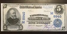 Replica Copy 1902 $5 Bill Taylorville Illinois National Bank Note Five Harrison
