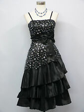 Cherlone Black Prom Ball Evening Wedding Knee Length Bridesmaid Dress 14-16