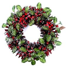 35cm Christmas  Xmas Artificial Frosted Red Berry Wreath Red Wall Home Decor