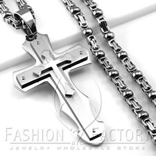 Men Stainless Steel Heavy Large Big Cross Pendant w/ Bead Box Chain Necklace P62