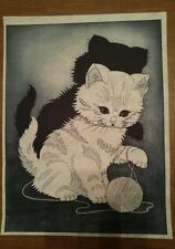 TriChem Liquid Embroidery Picture to Paint Copper Kitten Cat Black & Gold #6258