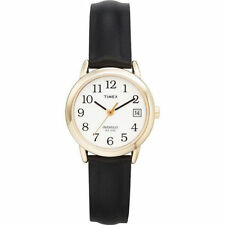Timex T2H341, Easy Reader, Women's, Black Leather Strap Watch, Indiglo, T2H3419J
