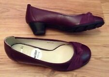 New ��CLARKS �� Size 3 E ( Wide Fit) Claire Purple Leather Shoes Slip On 35.5EU