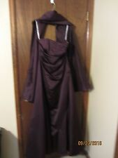 DAVID'S BRIDAL Eggplant Purple Strapless Dress Gown Size 10 Wedding Prom Formal
