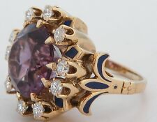 Fine unusual 14K Yellow Gold, HUGE Amethyst gem & Diamonds ring with Blue enamel