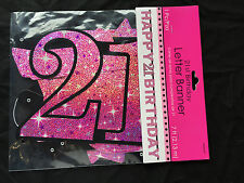 Large 21st Birthday Letter Banner Pink Party Decorations Age 21 Party Sparkle