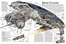 Framed Print - Star Wars Schematic Droid Gunship (Picture Art Yoda Darth Vader)
