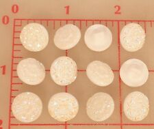 "12 vintage iridescent white AB Czech glass shank buttons flower design 1/2"" #58"