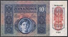 Österreich / Austria 10 Kronen 1915 (1919) Pick 51 (1)