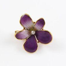 14k Gold Art Nouveau Crane & Theurer Enamel Pearl Violet Pansy Floral Brooch Pin