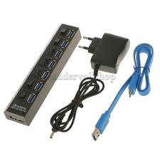 7 Port USB 3.0 Hub Einzel LED ON/OFF Switch + 2M USB Cable + EU Adapter