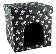 Love2Pet Cat Shelter - Foldable & Portable - Charcoal with White Paw Prints