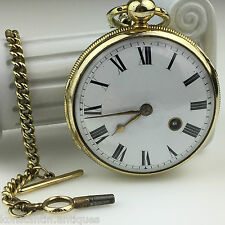Antique Verge Fusee pocket watch with Tbar chain 18thc Capt.Jones Plymouth brass