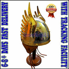 Medieval Norman King Helmet Vikings Winged Helmet Fully Wearable with Soft Liner