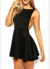 NEW~American Apparel Ponte Sleeveless Mini Skater Dress Black Open Back Large