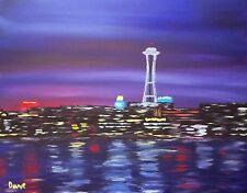 Art Print of Acrylic Painting by Dave. Seattle Space Needle Cityscape Skyline