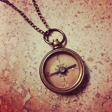 Heavy Duty Mini Vintage Style Compass Necklace Nautical Antique Bronze