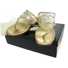 Authentic CHANEL Vintage CC Logos Shoes Sandals Gold Clear #37 Italy V08518