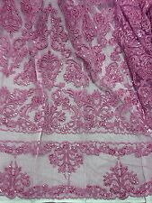 DUSTY ROSE PINK  BEADED & SEQUINS BRIDAL LACE CORDED FABRIC 1 YD