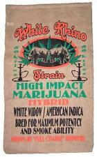 WHITE RHINO BURLAP BAG #21 feed bags gunny sack novelty marajuana pot leaf decor