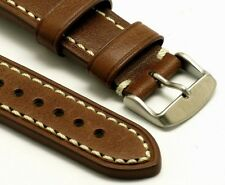 22mm Brown Quality Cow Leather Watch Strap Contrast Stitch Stainless Buckle