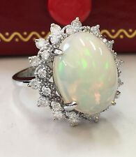 8.00 CTW Natural Ethiopian Opal and Diamonds in 14K Solid White Gold Women Ring