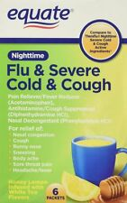 Equate Nighttime Flu and Severe Cold and Cough 6 packets Compare to Theraflu
