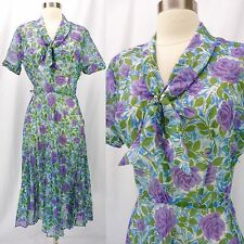 Nos Vintage 50s Semi-Sheer Floral Print Pleated Knot Bow Day Dress M Deadstock