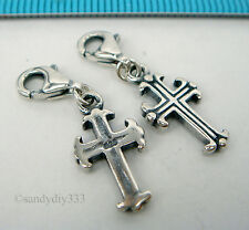 1x STERLING SILVER Holy Cross CHARM PENDANT EUROPEAN LOBSTER CLIP ON CHARM #2020