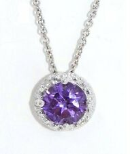 1 Ct Alexandrite 6mm Round & Diamond Pendant .925 Sterling Silver