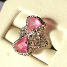 UBER RARE ANTIQUE OSTBY BARTON DOUBLE PINK STONE 10K WG FILIGREE RING TITANIC