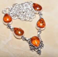 """Handmade Baltic Faux Amber Gemstone 925 Sterling Silver Necklace 19"""" #N00581"""
