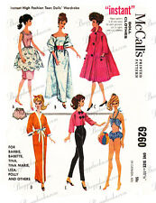 Vintage Barbie doll clothes sewing patterns - circa 1962