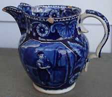 Antique Clews Water Girl w/ Dog Pitcher Dark Blue and White 1820's Staffordshire