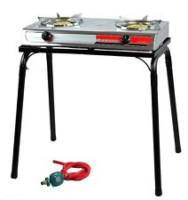 Portable Propane Gas Gasoline lpg stainless Stove Stand Dual Burners Cook S