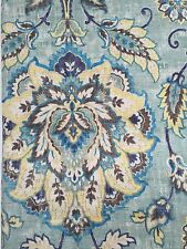 New CYNTHIA ROWLEY Floral 2 LINEN Curtain window PANELS Blue Teal Green 96""