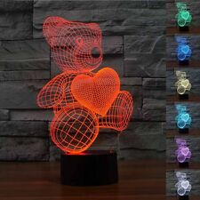 Creative 3D Led Desk Table Light Lamp Cute Bear Love Heart For Girls As Gift