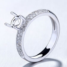 Natural SI Diamond Semi Mount 5.5mm Round Fine Halo Ring Setting Sterling Silver