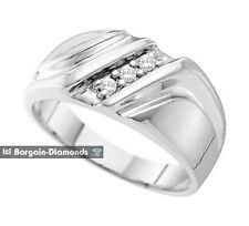 mens diamond .10-carats 3 stone 10K white gold ring wedding band anniversary