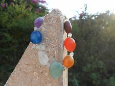7 CHAKRA TUMBLED STONES BRACELET & CRYSTAL BEADS-FABRIC-SILVER PLATED