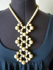 Mod Cream color Woven Wood Bead Pendant Necklace- Runway