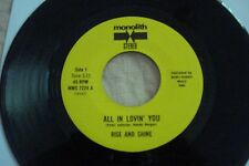"""RISE AND SHINE """"All In Lovin' You / Nice To Live"""" soul horns MONOLITH 7224 STOCK"""