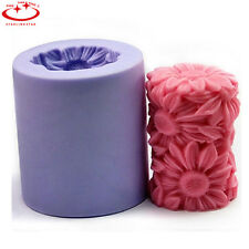 3D Sunflower Daisy Cylinder Round Candle Mold Soap Mould Flexible Silicone Mold